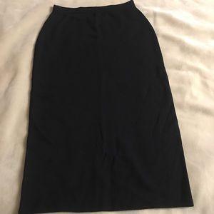 St John Basics 8 Long Black Fine Knit Skirt Black